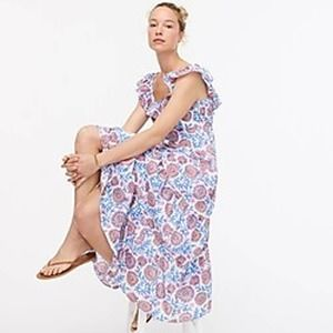 J. Crew Tiered Ruffle neck Midi Floral Dress